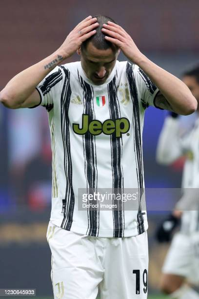 Leonardo Bonucci of Juventus FC looks dejected during the Serie A match between FC Internazionale and Juventus at Stadio Giuseppe Meazza on January...