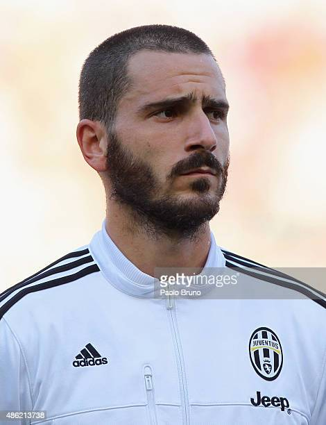 Leonardo Bonucci of Juventus FC looks on during the Serie A match between AS Roma and Juventus FC at Stadio Olimpico on August 30 2015 in Rome Italy