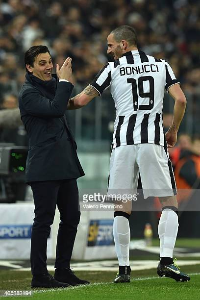 Leonardo Bonucci of Juventus FC reacts to ACF Fiorentina head coach Vincenzo Montella during the TIM Cup match between Juventus FC and ACF Fiorentina...