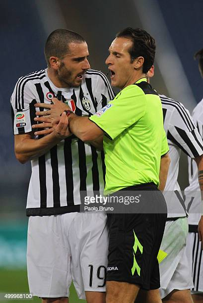 Leonardo Bonucci of Juventus FC reacts with the referee Luca Banti during the Serie A match between SS Lazio and Juventus FC at Stadio Olimpico on...