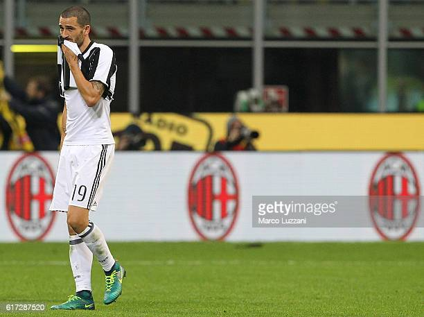 Leonardo Bonucci of Juventus FC shows his dejection at the end of the Serie A match between AC Milan and Juventus FC at Stadio Giuseppe Meazza on...