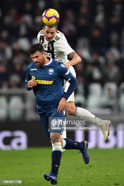 Leonardo Bonucci of Juventus goes up with Andrea Petagna of SPAL during the Serie A match between Juventus and SPAL at Allianz Stadium on November 24...