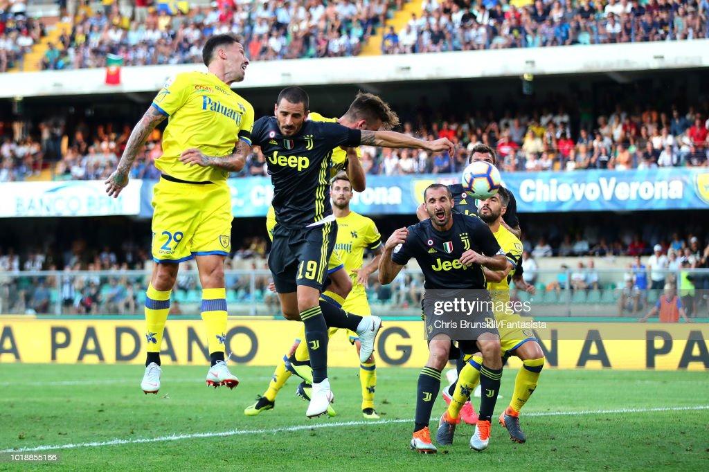 Leonardo Bonucci of Juventus heads his side's second goal during the Serie A match between Chievo Verona and Juventus at Stadio Marc'Antonio Bentegodi on August 18, 2018 in Verona, Italy.