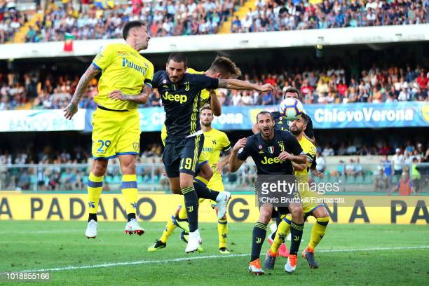 Leonardo Bonucci of Juventus heads his side's second goal during the Serie A match between Chievo Verona and Juventus at Stadio Marc'Antonio...