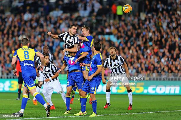 Leonardo Bonucci of Juventus heads the ball during the match between the ALeague All Stars and Juventus at ANZ Stadium on August 10 2014 in Sydney...