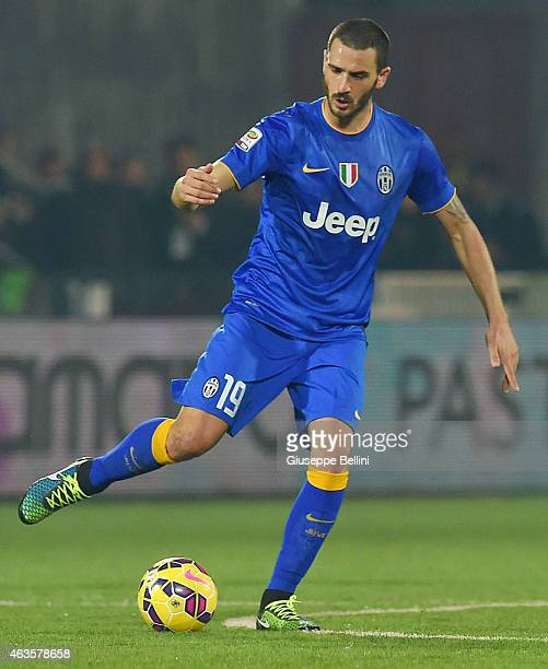 Leonardo Bonucci of Juventus in action during the Serie A match between AC Cesena and Juventus FC at Dino Manuzzi Stadium on February 15, 2015 in...