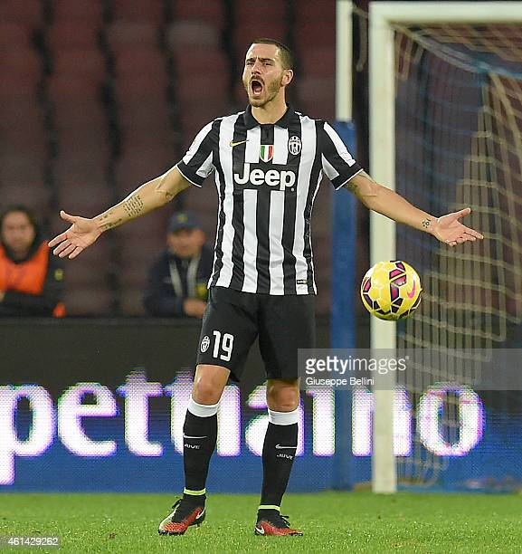 Leonardo Bonucci of Juventus in action during the Serie A match between SSC Napoli and Juventus FC at Stadio San Paolo on January 11 2015 in Naples...