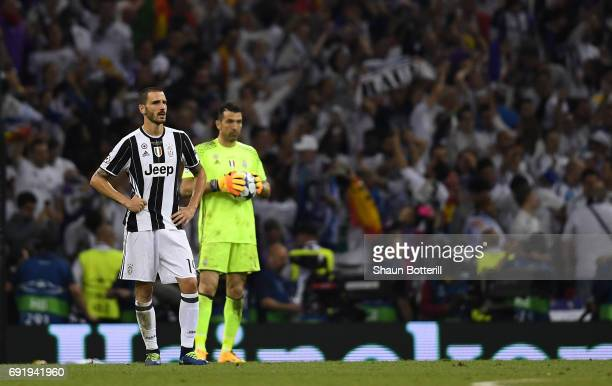 Leonardo Bonucci of Juventus is dejected after the UEFA Champions League Final between Juventus and Real Madrid at National Stadium of Wales on June...
