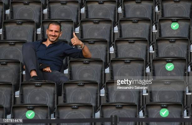 Leonardo Bonucci of Juventus looks on during the Serie A match between Udinese Calcio and Juventus at Stadio Friuli on July 23 2020 in Udine Italy
