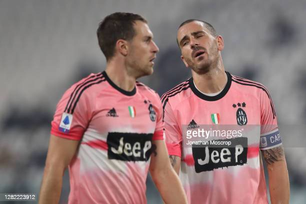 Leonardo Bonucci of Juventus reacts during the Serie A match between Juventus and Hellas Verona FC at Allianz Stadium on October 25 2020 in Turin...