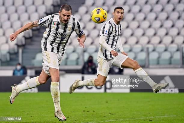 Leonardo Bonucci of Juventus scores 2-1 during the Italian Serie A match between Juventus v Torino at the Allianz Stadium on December 5, 2020 in...