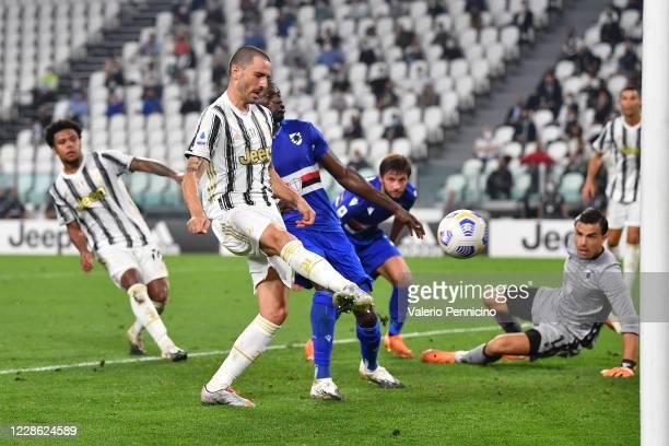 Leonardo Bonucci of Juventus scores a goal during the Serie A match between Juventus and UC Sampdoria at Allianz Stadium on September 20, 2020 in...