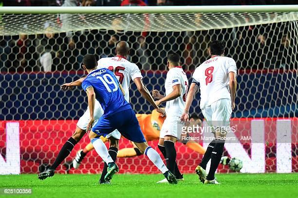 Leonardo Bonucci of Juventus scores his team's second goal during the UEFA Champions League match between Sevilla FC and Juventus at Estadio Ramon...