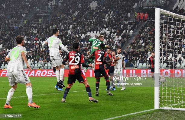Leonardo Bonucci of Juventus scores the opening goal during the Serie A match between Juventus and Genoa CFC at on October 30 2019 in Turin Italy