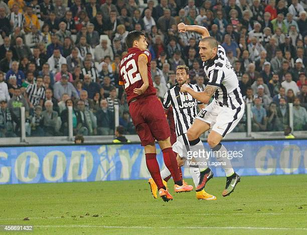 Leonardo Bonucci of Juventus scores the victory gal during the Serie A match between Juventus FC and AS Roma at Juventus Arena on October 5 2014 in...