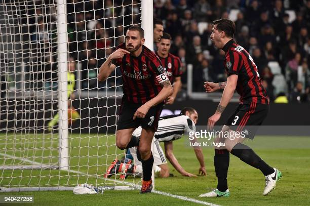 Leonardo Bonucci of Milan celebrates after scoring the equalizing goal during the serie A match between Juventus and AC Milan at Allianz Stadium on...
