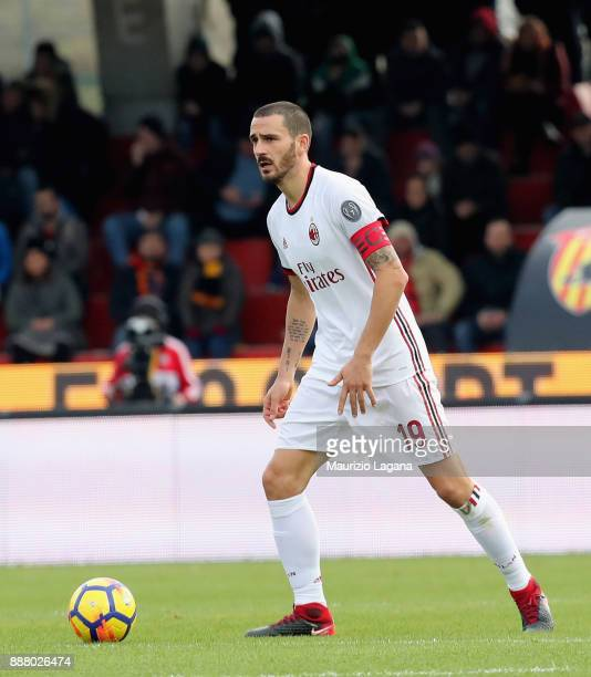 Leonardo Bonucci of Milan during the Serie A match between Benevento Calcio and AC Milan at Stadio Ciro Vigorito on December 3 2017 in Benevento Italy