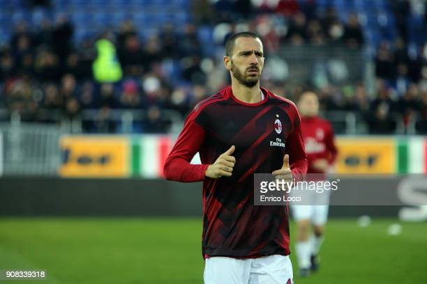Leonardo Bonucci of Milan in action during the serie A match between Cagliari Calcio and AC Milan at Stadio Sant'Elia on January 21 2018 in Cagliari...