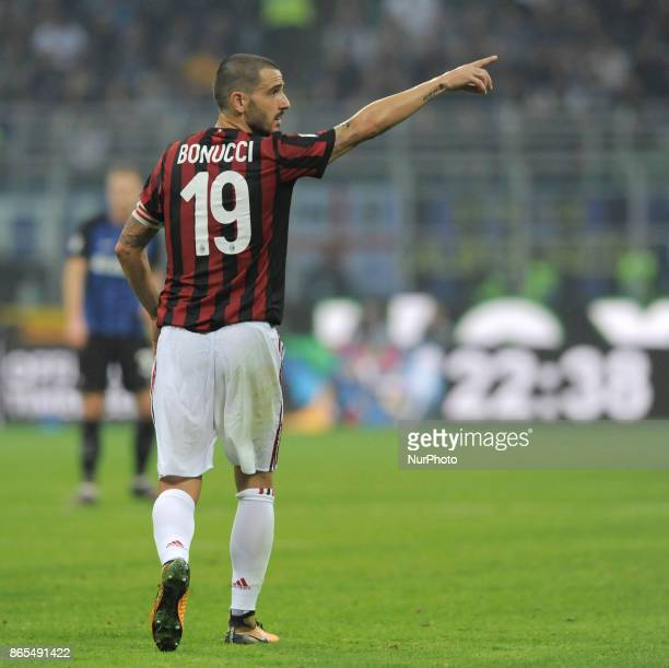 Leonardo Bonucci of Milan player during the match valid for Italian Football Championships Serie A 20172018 between FC Internazionale and AC Milan at...
