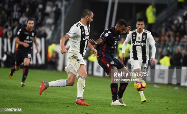 Leonardo Bonucci pof Juventus competes for the ball with Joao Pedro of Cagliari during the Serie A match between Juventus and Cagliari on November 3...