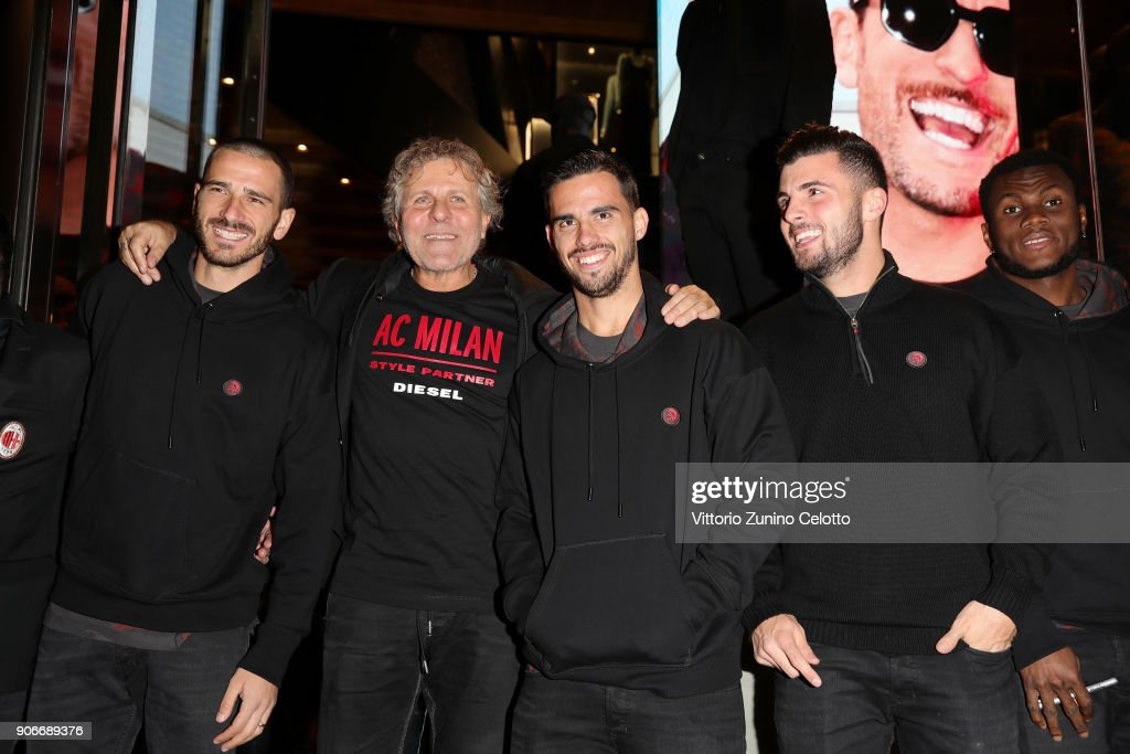 Leonardo Bonucci, Renzo Rosso, Suso, Patrik Cutron and Franck Kessie attend DIESEL X A.C. MILAN SPECIAL COLLECTION on January 18, 2018 in Milan, Italy.