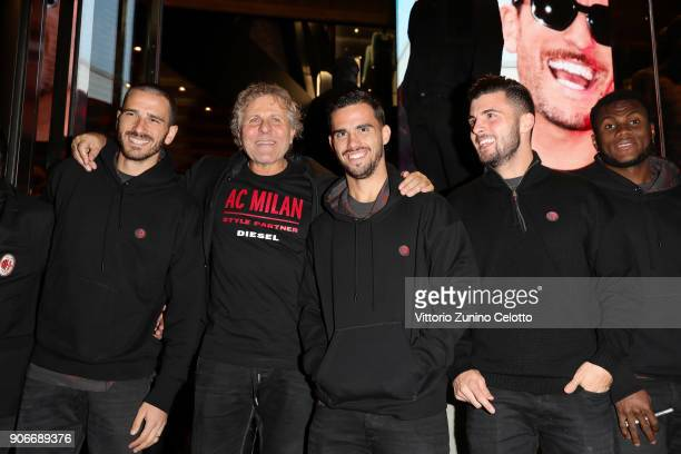 Leonardo Bonucci Renzo Rosso Suso Patrik Cutron and Franck Kessie attend DIESEL X AC MILAN SPECIAL COLLECTION on January 18 2018 in Milan Italy