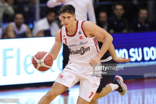 Leonardo Candi during the Italy Lega Basket of Serie A match between Grissin Bon Reggio Emilia and Germani Basket Brescia at PalaBigi on January 11,...
