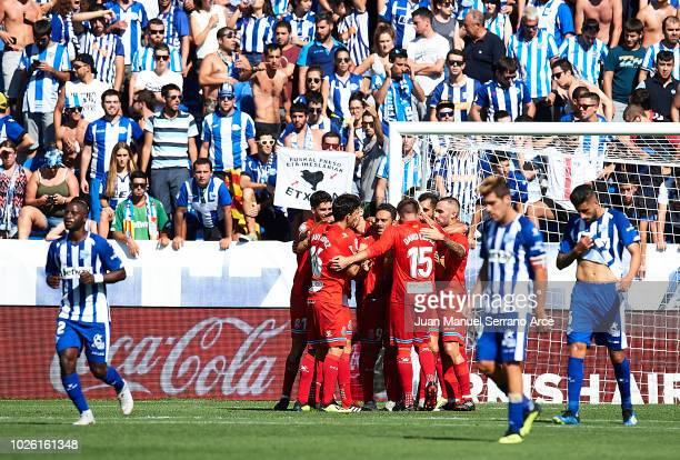 Leonardo Carrilho Baptistao of RCD Espanyol celebrates after scoring goal during the La Liga match between Deportivo Alaves and RCD Espanyol at...