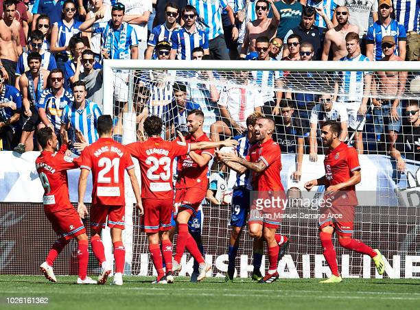 Leonardo Carrilho Baptistao of RCD Espanyol celebrates after scoring a goal during the La Liga match between Deportivo Alaves and RCD Espanyol at...