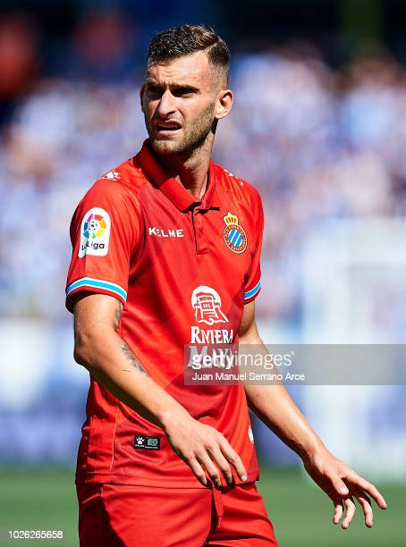 GASTEIZ SPAIN SEPTEMBER Leonardo Carrilho Baptistao of RCD Espanyol reacts during the La Liga match between Deportivo Alaves and RCD Espanyol at...