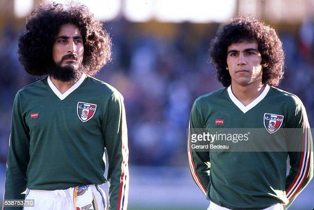 Leonardo Cuellar and Hugo Sanchez of Mexico during the World Cup match between Mexico and Poland in Estadio Gigante de Arroyito Rosario Argentina on...