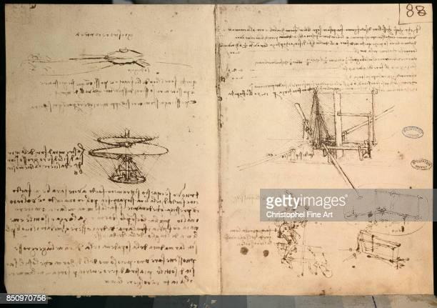 Leonardo Da Vinci Drawing of a Flying Machine Paris Bibliotheque de l'Institut
