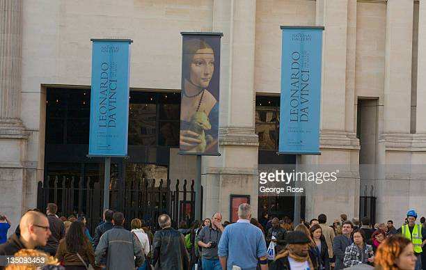 Leonardo Da Vinci exhibit at the National Gallery draws a large crowd on November 19 2011 in London England An unusually warm day in Central London...