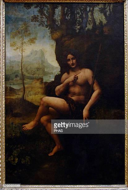 Leonardo da Vinci Italian polymath painter sculptor architedt Renaissance St John the Baptist 15101515 Tempera and oil on panel Louvre Museum Paris...