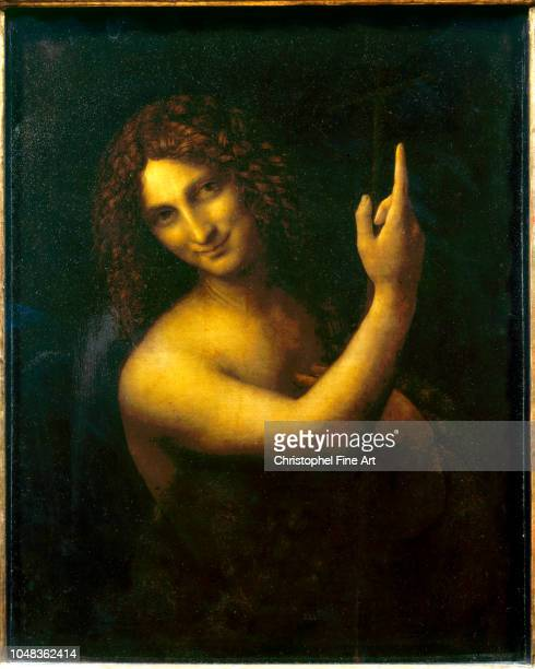 Leonardo Da Vinci Italian School Saint John the Baptist Circa 15131516 Oil on wood 069 x 057 m Paris musee du Louvre Museum