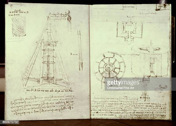 Leonardo Da Vinci Manuscript On the left Gimlet Spiral staircase Drilling a Beam On the right Plan of a fortified city Plan and elevation of a...