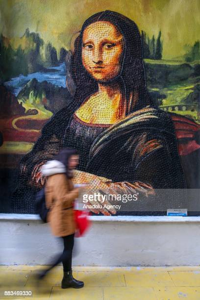 Leonardo da Vinci's ''Mona Lisa'' made from plastic cover by municipal personnel as part of the ''recycling street'' project in Ipekyolu district of...
