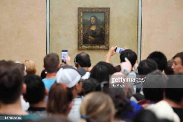 Leonardo da Vinci's Mona Lisa painting is presented at the Louvre Museum in Paris, France on 6 July 2019.