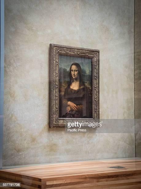 Leonardo da Vinci's portrait of Lisa Gherardini wife of Francesco del Giocondo known as the Mona Lisa The Louvre Museum in Paris considered as one of...