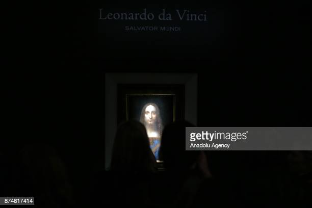 Leonardo da Vinci's Salvator Mundi painting is seen at the Christie's in New York during its final day of viewing in New York, United States on...