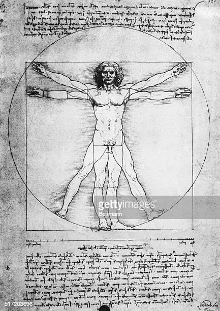 Leonardo Da Vinci's 'The Proportions of Man' is shown in this manuscript illustration