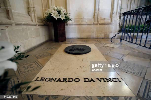 Leonardo da Vinci's tomb inside the chapel Saint Huber at the Amboise royal castle on April 26 2019 in Amboise France The castle of Clos Luce the...