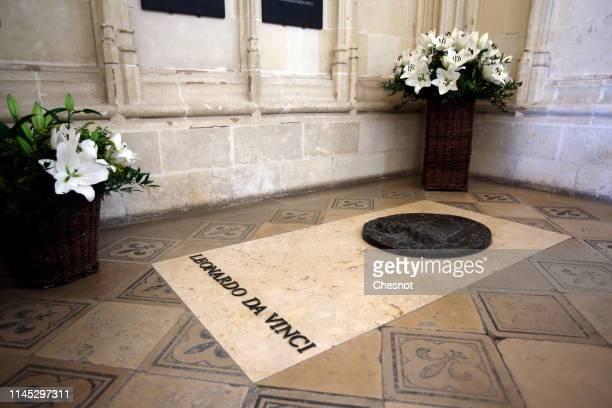 Leonardo da Vinci's tomb inside the chapel Saint Huber is seen at the Amboise royal castle on April 26 2019 in Amboise France The castle of Clos Luce...