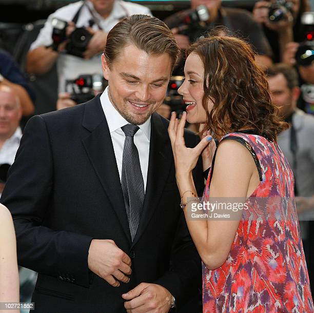 Leonardo Di Caprio and Marion Cotillard attend the UK film premiere of Inception at the Odeon Leicester Square on July 8 2010 in London England