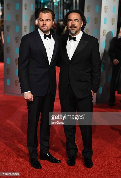 Leonardo DiCaprio and Alejandro G Inarritu attend the EE British Academy Film Awards at the Royal Opera House on February 14 2016 in London England