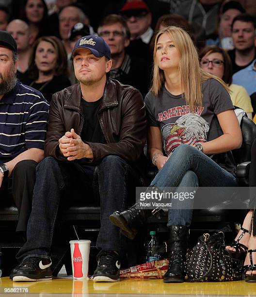 Leonardo DiCaprio and Bar Refaeli attend a game between the Orlando Magic and the Los Angeles Lakers at Staples Center on January on January 18, 2010...