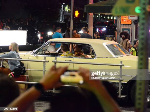Leonardo DiCaprio and Brad Pitt are seen on the movie set of the 'Once Upon a Time in Hollywood' on July 24 2018 in Los Angeles California