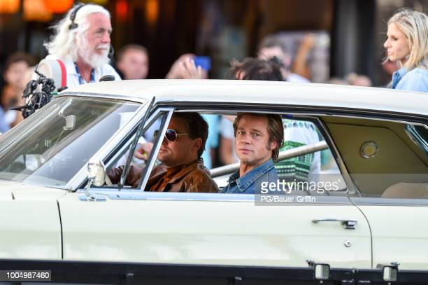 Leonardo DiCaprio and Brad Pitt are seen the set of Once Upon a Time In Hollywood on July 24 2018 in Los Angeles California