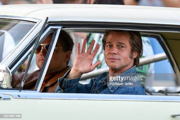 Leonardo DiCaprio and Brad Pitt are seen the set of Once Upon a Time In Hollywood on July 24, 2018 in Los Angeles, California.