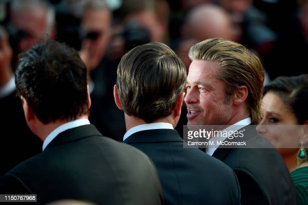 Leonardo DiCaprio and Brad Pitt attend the screening of Once Upon A Time In Hollywood during the 72nd annual Cannes Film Festival on May 21 2019 in...